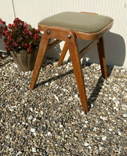Vintage Retro Kitchen Wooden Stacking Stool Mid Century Olive Green Vinyl Seat
