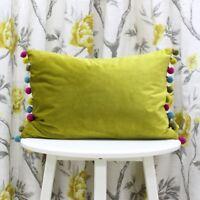 Paoletti Fiesta Pom Pom Velvet Boudoir Cushion Cover,  35 x 50 Cm