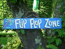 FLIP FLOP ZONE TROPICAL TIKI HUT BAR POOL PATIO HOT TUB PARROTHEAD SIGN PLAQUE