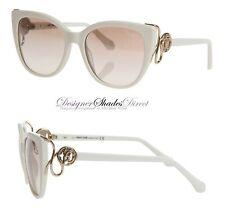 Roberto Cavalli Rc1063 21G GIANNUTRI Sunglasses White Gold Snake Women Cat Eye