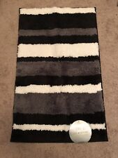 InterDesign iTouch Microfiber Accent Rug Striped Black Gray White 21 in x 34 in