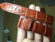 22mm-20mm-red brown Genuine-ALLIGATOR-CROCODILE-SKIN-WATCH-STRAP-BAND