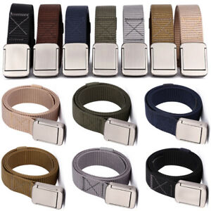 Men's Quick Dry Durable Nylon Metal Buckle Belts Smooth Buckle Waistband Belt