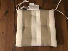 2 Pottery Barn UNIVERSAL TUFTED DINING CUSHION Linen Sand Stripe NWT