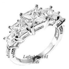 1 Carat Clear Princess cut CZ Center 5-Stone Type Wedding Anniversary Brida Ring