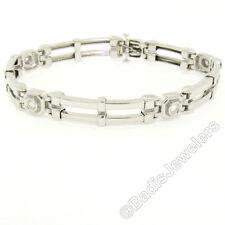 "Mens 14k White Gold 8.5"" 1.00ctw Bezel Round Diamond & Dual Bar Chain Bracelet"