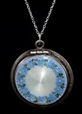 Stunning Antique STERLING *FORGET-ME-NOT* ENAMEL GUILLOCHE Locket/Case Necklace