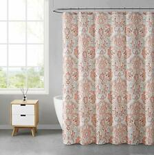 VCNY Home Decorative Fabric Shower Curtain: Floral Damask, Blush Pink Coral Ivor