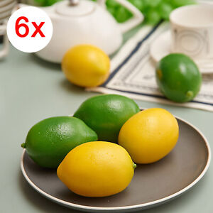 6x Limes Lemon Lifelike Artificial Plastic Fake Fruit Imitation Home Party Decor