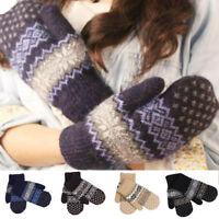 Fashion Women's Winter Warm Knit Gloves Soft Hand Warmer Mittens Finger Gloves