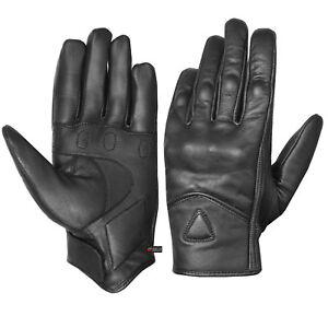 Men's Genuine Leather Motorcycle Protected Street Cruiser Biker Gloves