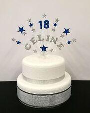 Personalizzato stelle glitter nome e età topper torta di compleanno, decorazione