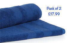 2x Super Jumbo Bath Sheets Egyptian Combed Towels Extra Large Size 90x200cm Blue