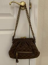Marc Jacobs Quilted Leather Stam Brown Shoulder Bag With Kiss Lock