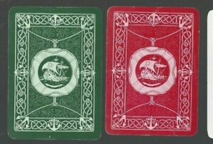 Swap Playing Cards 2 WIDE VINT ENG FRAMED SAILING SHIPS  ANCHORS ROPES PR  EW86