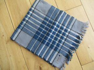 Vintage SAMMY ALL WOOL Gentlemen's Scarf  Grey & Blue Check 100% Wool