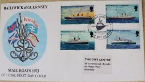 """Guernsey Stamps: """"Guernsey Mailboats"""" - First Day Cover 1972"""