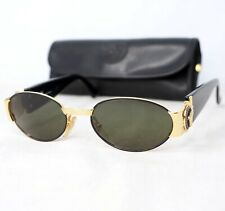 GIANNI VERSACE S72 sunglasses vintage gold gray black medusa head oval small