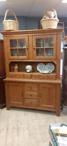 Outstanding Broyhill Attic Heirlooms Line Lighted  Oak country hutch