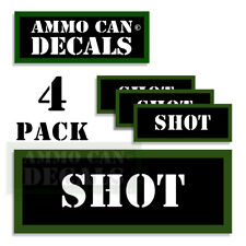 "SHOT Ammo Can LABELS STICKERS DECALS for Ammunition Cases 3""x1.15"" 4pack"