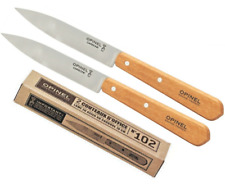 SET 2 COUTEAUX OFFICE OPINEL N 102 LAME 10 CM ACIER CARBONE FRANCE