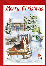 "Basset Hound Dog A6 (4""x6"") Christmas Card - Blank inside - by Starprint"