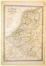 Carta geografica antica PAESI BASSI BELGIO Old Map Nederland Belgium Monin 1840