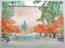 """The Art Institute of Chicago""  Original Watercolor by William Benecke 1934-2001"
