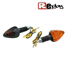 2 CLIGNOTANTS REPLAY TRIANGLE UNIVERSEL ORANGE/CARBONE BASE COURTE MAXISCOOTER