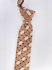 BURBERRY Brown Beige Silk Woven Pattern Basket weave Design Mens Slim Tie