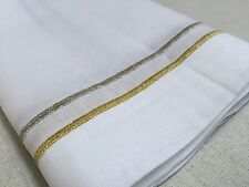 20 Inch Square White Gold Silver Embroidery Linen Cloth Dinner Napkin Set Of 4