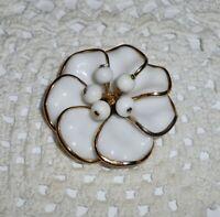 Vintage TRIFARI Poured White Milk Glass Flower Brooch Pin Gold-tone  A211