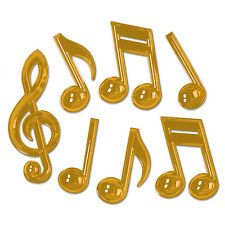 Gold Plastic Musical Notes (Pack of 12)