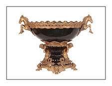 Messing Keramik Jardiniere Tafelaufsatz Pferd schwarz prunkvoll neu 99937839-dss