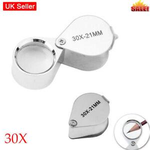 30 60X Jewellers Loupe Folding Jewellery Magnifier Eye Loop Diamonds Coin Stamp