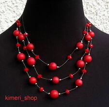 Statement Collier Halskette Perlen Kette Rot Mehrreihig