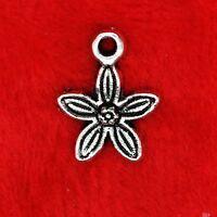 15x Tibetan Silver Star Shaped Flower Daisy Charm Pendant Finding Beading Making