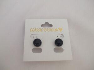 Black Enamel Domed Stud Earrings Size 10mm New