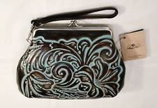 Patricia Nash Savena Tooed Leather Kiss Lock Clutch Wristlet. NEW with tags.