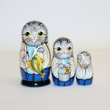 Cat fisher Nesting doll russian matryoshka babushka dolls handmade signed kitty