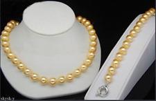 "Genuine 10mm Yellow South Sea Shell Pearl Earrings Bracelet Necklace 18"" AAA"