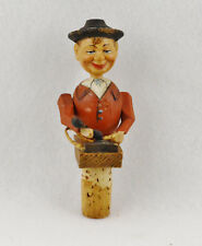 """Anri Wooden Machanical Bottle Stopper Man With Phone (5"""" Long)"""
