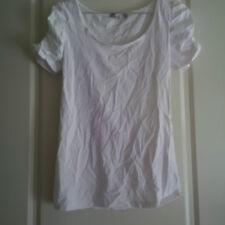 TEMT Womens white short sleeve top, round neck, Size S EUC