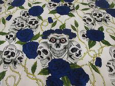 Blanco Y Azul Calaveras y rosas Estampado 100% Algodón Tela 137cm Ancho