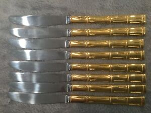 🍽🍽🍽Vintage Gold Tone Stainless Bamboo Knives, set of 8 EXCELLENT CONDITION