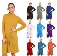 Womens Ladies Drape Long Sleeve Lagenlook Baggy Dress
