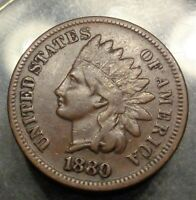Nice Very Fine++/XF brown brown tough 1880 bronze indian head cent 1C penny coin