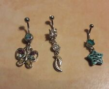 Lot of 3 Belly Button Ring Dangle Navel Set Piercing Body Jewelry Star Butterfly
