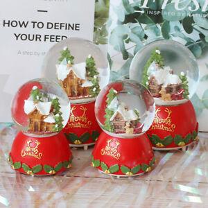 Christmas Wood House Snow Globe Crystal Ball Rotating Music Box Decoratin8