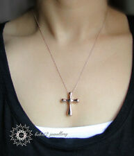 Simple Cross Pendant Necklace/18K Rose Gold Plated/RGN237G